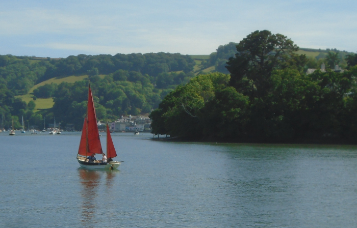 red sails on the River Dart near Dartmouth, june, 2019